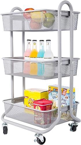 DESIGNA 3-Tier Rolling Utility Cart Storage Shelves Multifunction, Metal Mesh Baskets, Pantry Cart with Lockable Whee...