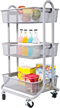 DESIGNA 3-Tier Rolling Utility Cart Storage Shelves Multifunction, Metal Mesh Baskets, Pantry Cart with Lockable Wheels, Gray