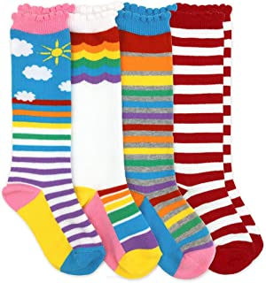 Jefferies Socks Girls Rainbow Striped Knee High Socks 4 Pair Pack