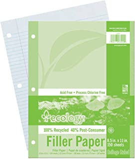 "Ecology PAC3202BN Recycled Filler Paper, White, 3-Hole Punched, College Ruled w/Margin, 8-1/2"" x 11"", 150 Sheets Per Pack, 12 Packs"