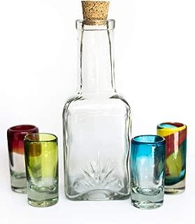 5-Piece Mexican Handblown Glass Bottle Decanter 25.3 Oz & Tequila Heavy Base Colorful Shot Glasses Set, Outdoor Bar Liquor Holder Drink Dispenser Agave Design and 4 Whiskey Vodka Wine Tots 2 Oz.