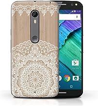 Stuff4 Carcasa/Funda Dura para el Motorola Moto X Style/Serie: Fina Madera de Encaje - Mandala de Bambú