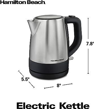 Hamilton Beach Electric Tea Kettle, Water Boiler & Heater, 1 L, Cordless, Auto-Shutoff & Boil-Dry Protection, Stainle