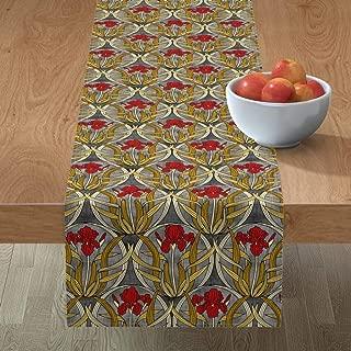 Roostery Tablerunner, Floral Art Deco Spring Summer Kitchen Nouveau Garden Print, Cotton Sateen Table Runner, 16in x 72in