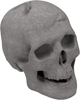 Regal Flame Human Skull Ceramic Wood Large Gas Fireplace Logs Logs for All Types of Gas Inserts, Ventless & Vent Free, Propane, Gel, Ethanol, Electric, or Outdoor Fireplaces & Fire Pits - Gray