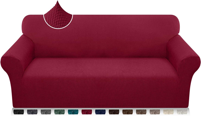 Luxurlife Funda de sofá de Alta Elasticidad Funda para Sofá Premium Súper Suave Protector de Muebles para Sala de Estar(3 Plazas,Rojo Vino)