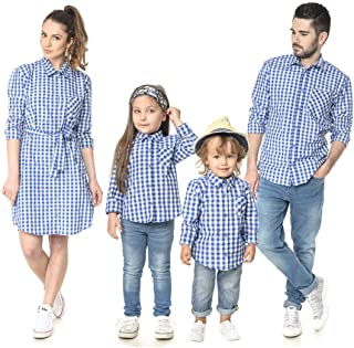 Family Matching Plaid Shirt Parent-Child Checkered Print Long Sleeve Dress Shirt Whit Pocket Spring Outfits