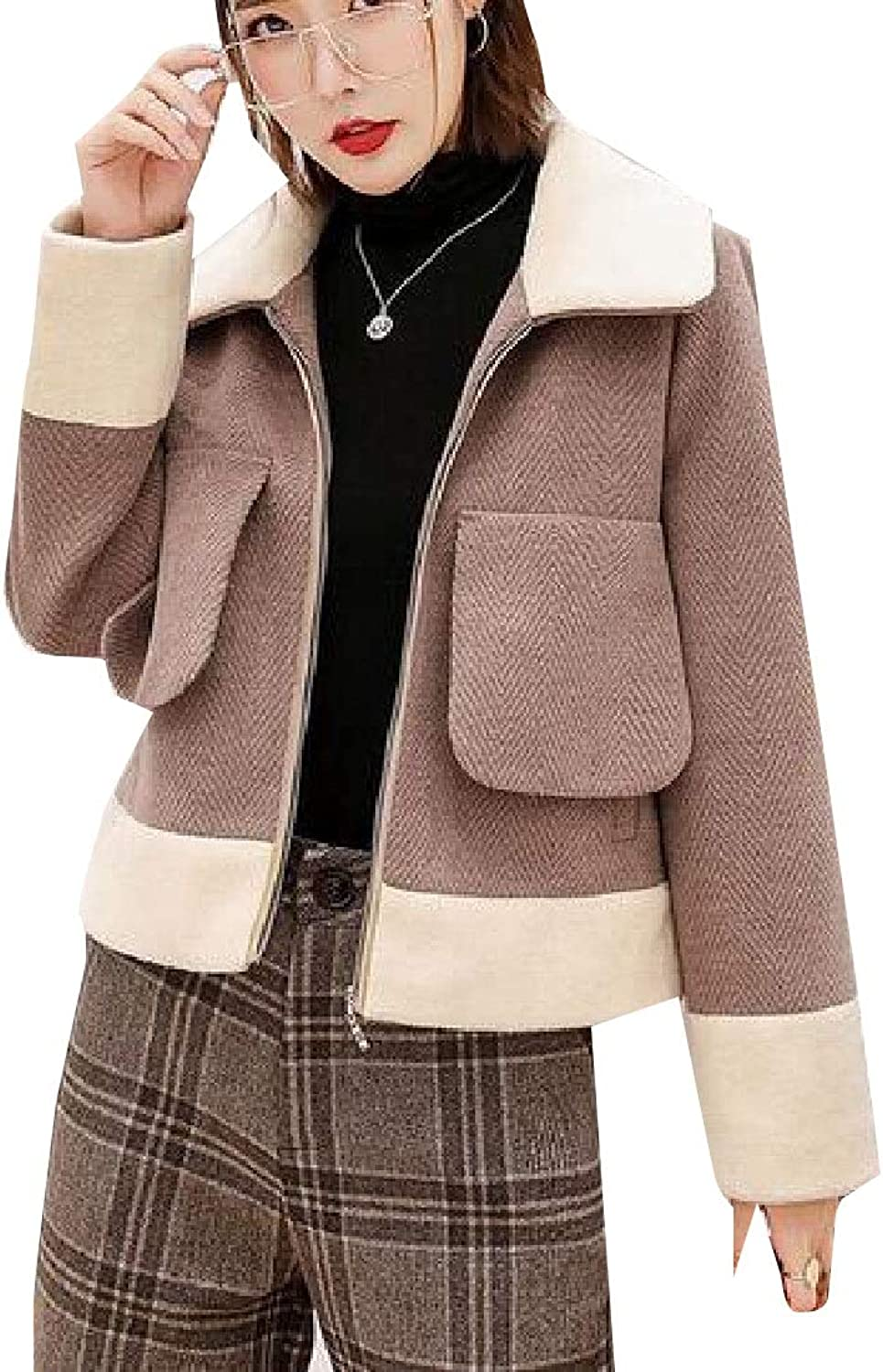 Maweisong Women Casual Wool Lapel LongSleeve Outwears Coat Short Pants