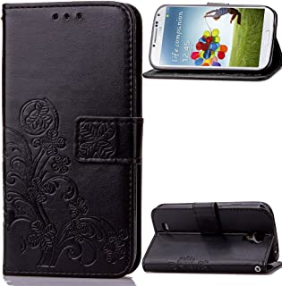Galaxy S4 Case,LEECO Card Slots Kickstand Wallet PU Leather Protects Flip Skin Case Magnetic Closure Stand Cover for Samsung Galaxy Galaxy S4 Luck Clover Black