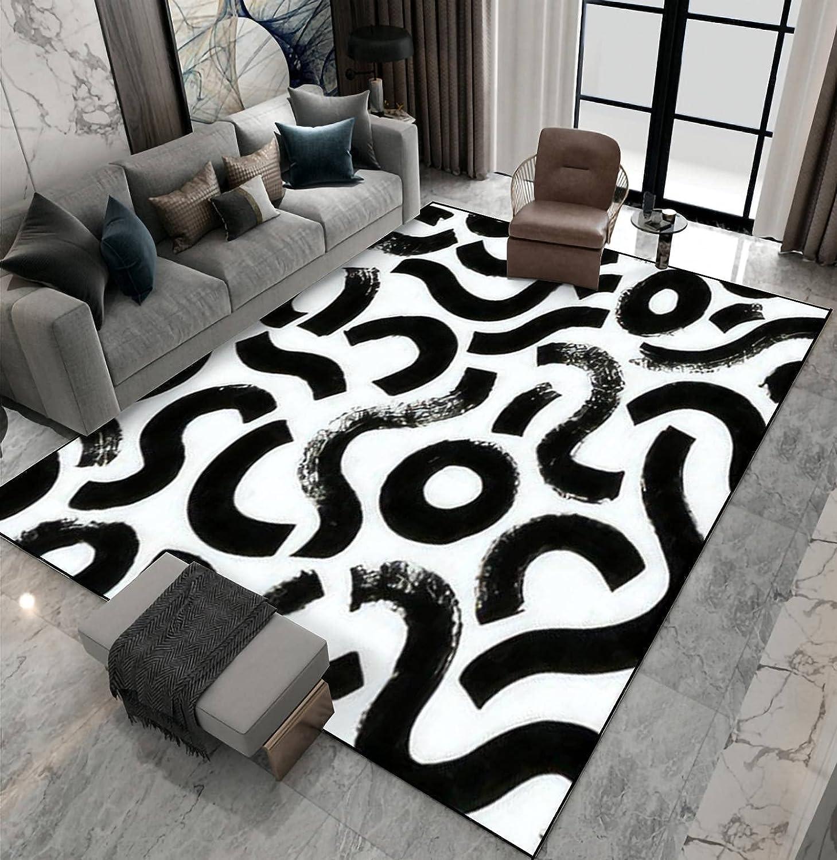 Area Luxury Rug Non-Slip Floor Mat Black Seamless Strokes Brush P Paint Inexpensive