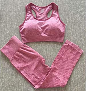 High Waist Seamless Tight Pants Female Sports Bra Yoga Suit Fitness Two-Piece Suit,Pink,M