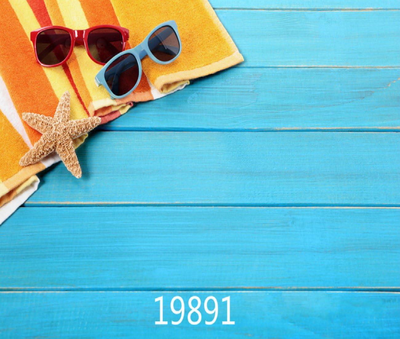 10X8FT-Children Shell Sunglasses Photography Backdrops Blue Wood Photo Studio Background