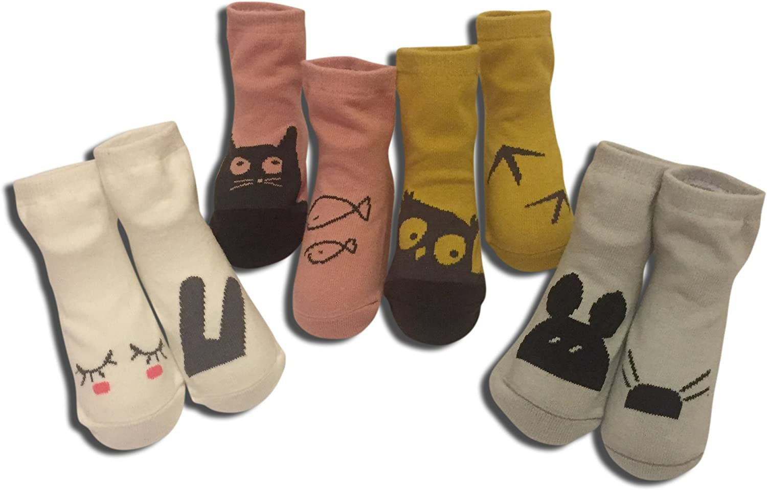 Premium 4 pack Baby No Slip Animal Socks, ages 6-24 months, by W+B