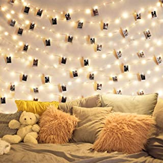 String Light with Clips,Photo Clip String Lights 17Ft - 50 LED Fairy String Lights with 50 Clear Clips for Hanging Pictures -Lighting for Patio Halloween Christmas Party Wedding Bedroom Decor