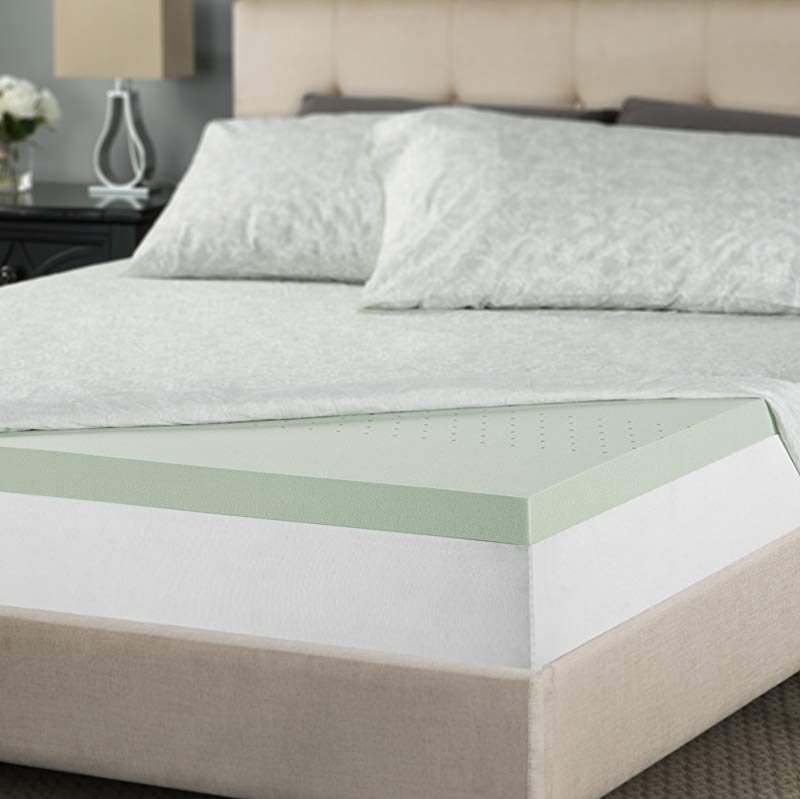 Zinus 2 Inch Green Tea Memory Foam Mattress Topper King