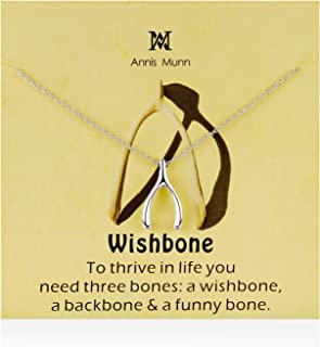 Annis Munn Good Luck Wishbone Necklace - 925 Sterling Silver Wishbone Pendant,Valentine's Day and Mother's Day Jewelry Bir...