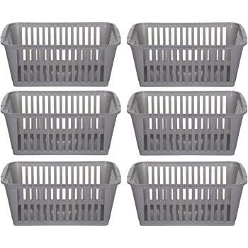37cm Silver Plastic Handy Basket Storage Basket Set Of 6