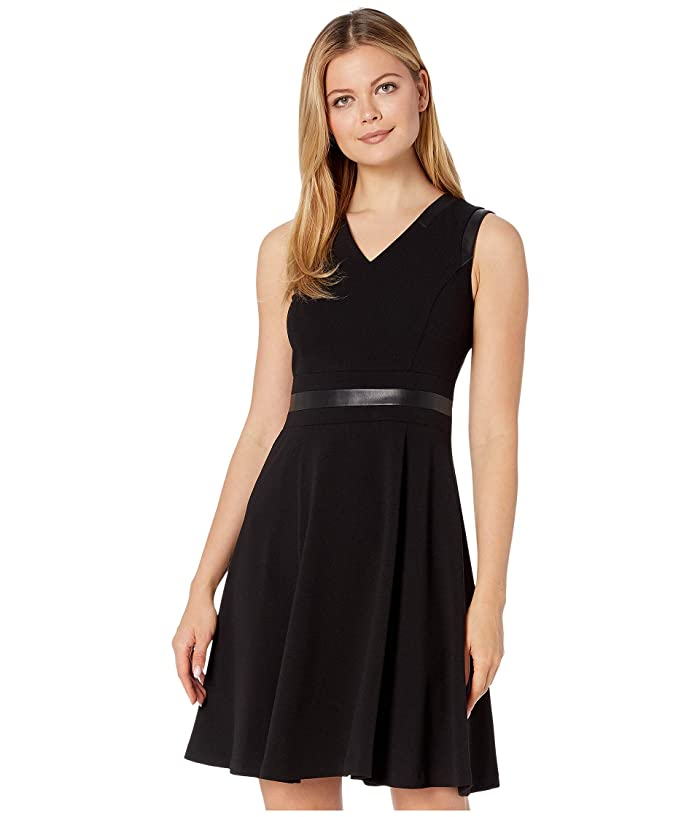 Line Dress with PU Detail (Black) Women's Dress