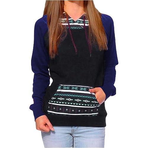 3f5f1a236e5 BLUETIME Women s Lightweight Raglan Geometric Print Pocket Pullover Hoodie  Sweatshirt Top