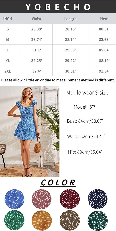 YOBECHO Womens Summer Ruffle Sleeve Sweetheart Neckline Printing Dress Mini Dress