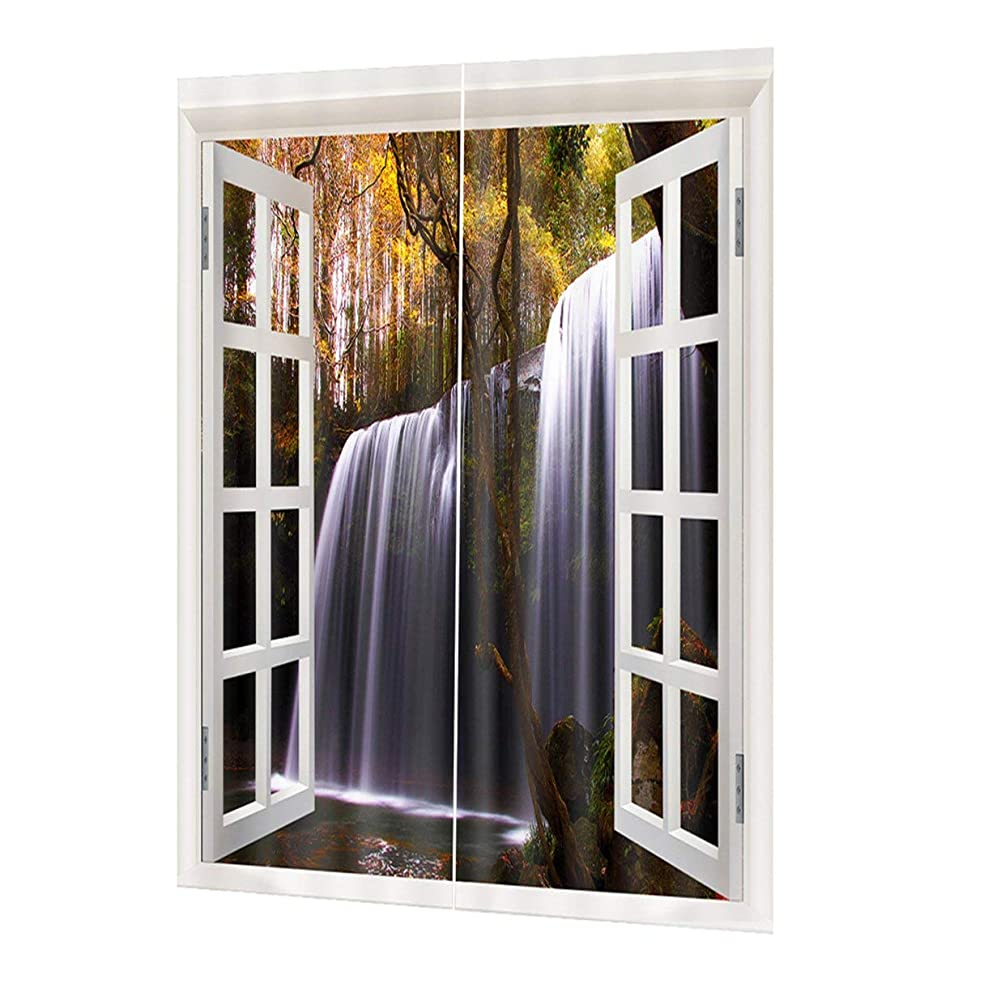 シーケンス戸口既にQinKingstore 洗えるドレープパネルシアー生地カーテン印刷ドア窓カーテン家の装飾