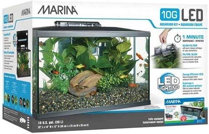 Marina 15256 - Kit de Acuario con Iluminación LED 10G, 38 L, Transparente
