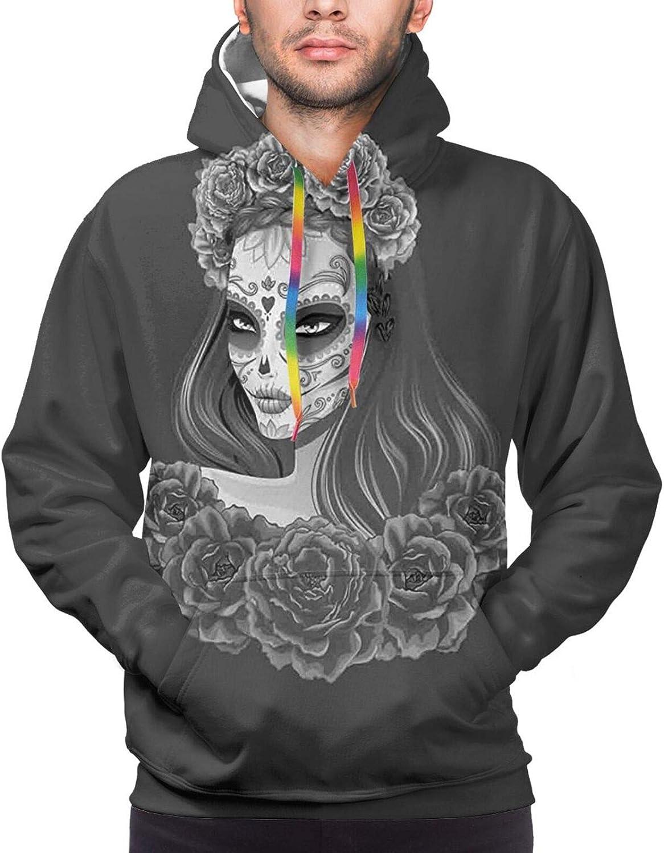 TENJONE Men's Hoodies Sweatshirts,Gothic Halloween Haunted House Party Theme Design Trick Or Treat Motifs Print