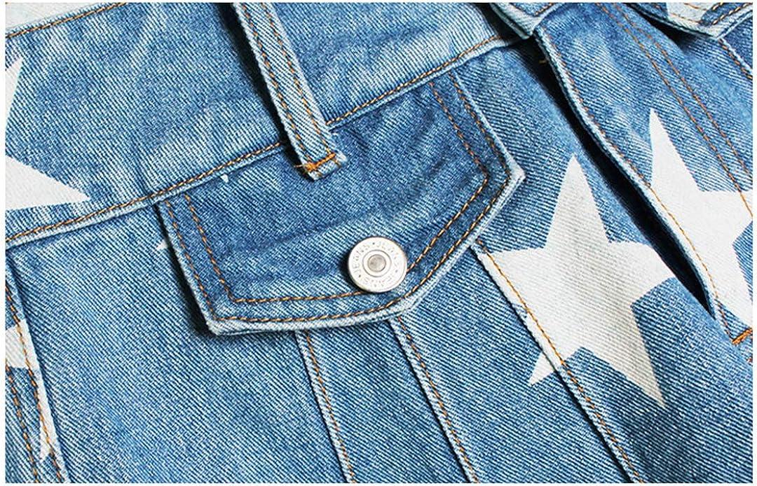 DFLYHLH Women Ruffle Wide Leg Jean Short High Waist Summer Shorts Star Print Women's Denim Shorts