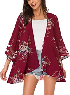 Women Mesh Panel 3/4 Bell Sleeve Floral Chiffon Casual Loose Kimono Cardigan Capes