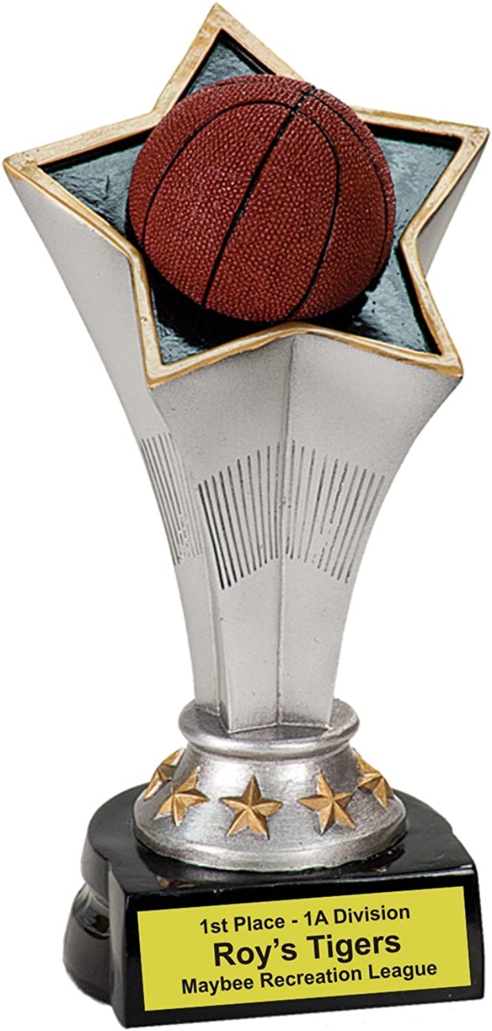 Personalized 7  Basketball Rising Star Resin Trophy - Brand New