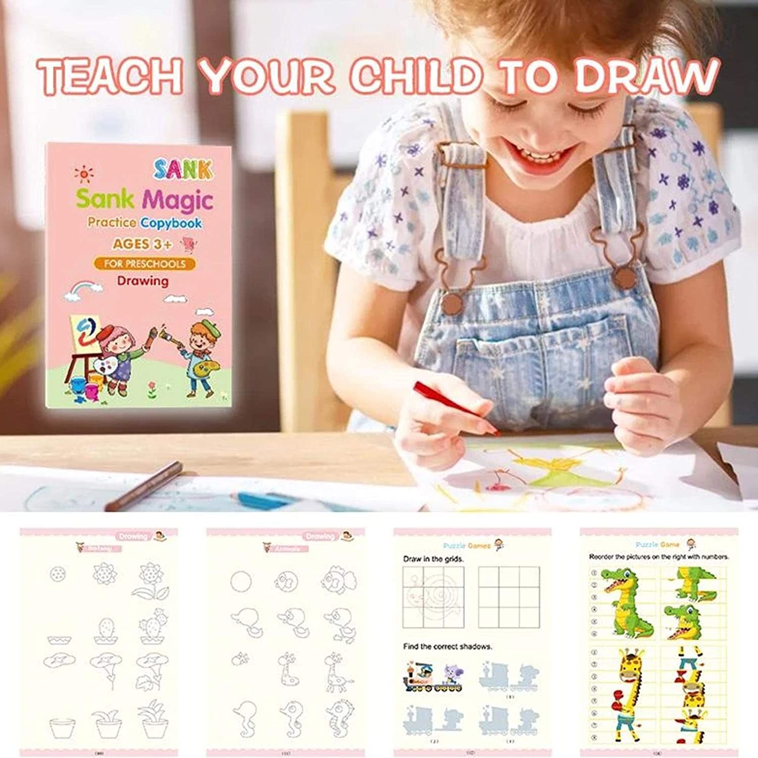 Copybook Set Practical Reusable Writing Tool Homeschool Kindergarteners for Age 3-5 Calligraphy Simple Hand Lettering Luermeuk Magic Practice Copybook,Number Tracing Book for Preschoolers with Pen