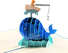 iGifts And Cards The Fisherman And The Funny Whale 3D Pop Up Greeting Card - Funny, Friendship, Sport, Fishing, Half-Fold,...