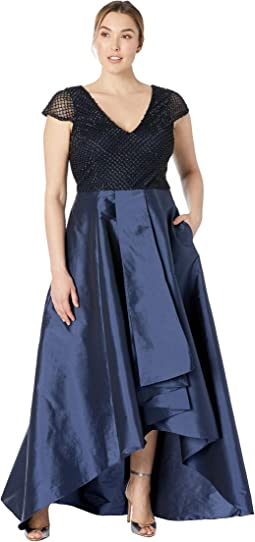 Short Sleeve Beaded Bodice with High-Low Taffeta Skirt