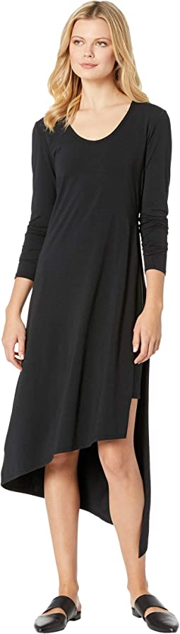 Cotton Modal Spandex Jersey Long Sleeve Double Layer High Side Slit Dress