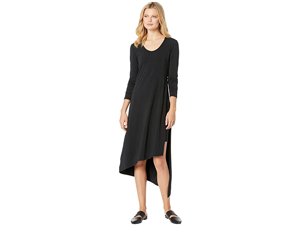 Mod-o-doc Cotton Modal Spandex Jersey Long Sleeve Double Layer High Side Slit Dress (Black) Women