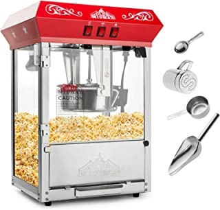 Olde Midway Bar Style Popcorn Machine Maker Popper with 10-Ounce Kettle - Red