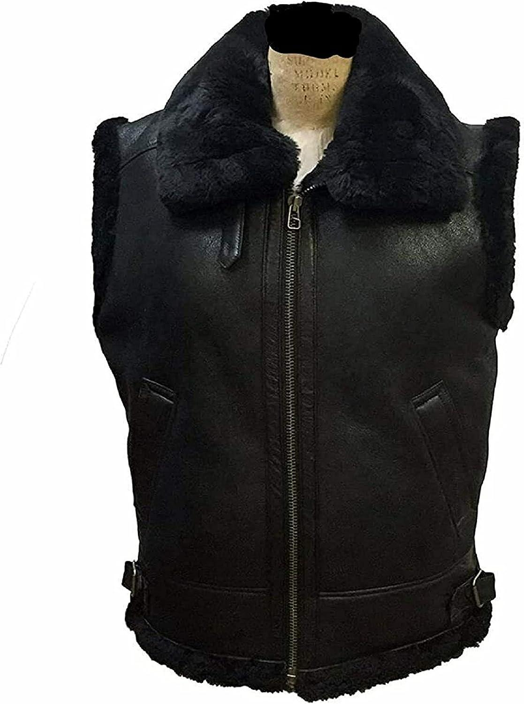 Aviator Brown Bomber Vest Short Coat Real Shearling Sheepskin Leather Jacket