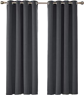 UMI. by Amazon - Cortinas Opacas con Aislamiento Térmico para Sala de Estar Oficina Hotel Ventanas con Anillas Juego de 2 Paneles 117 x 183 cm Gris Oscuro