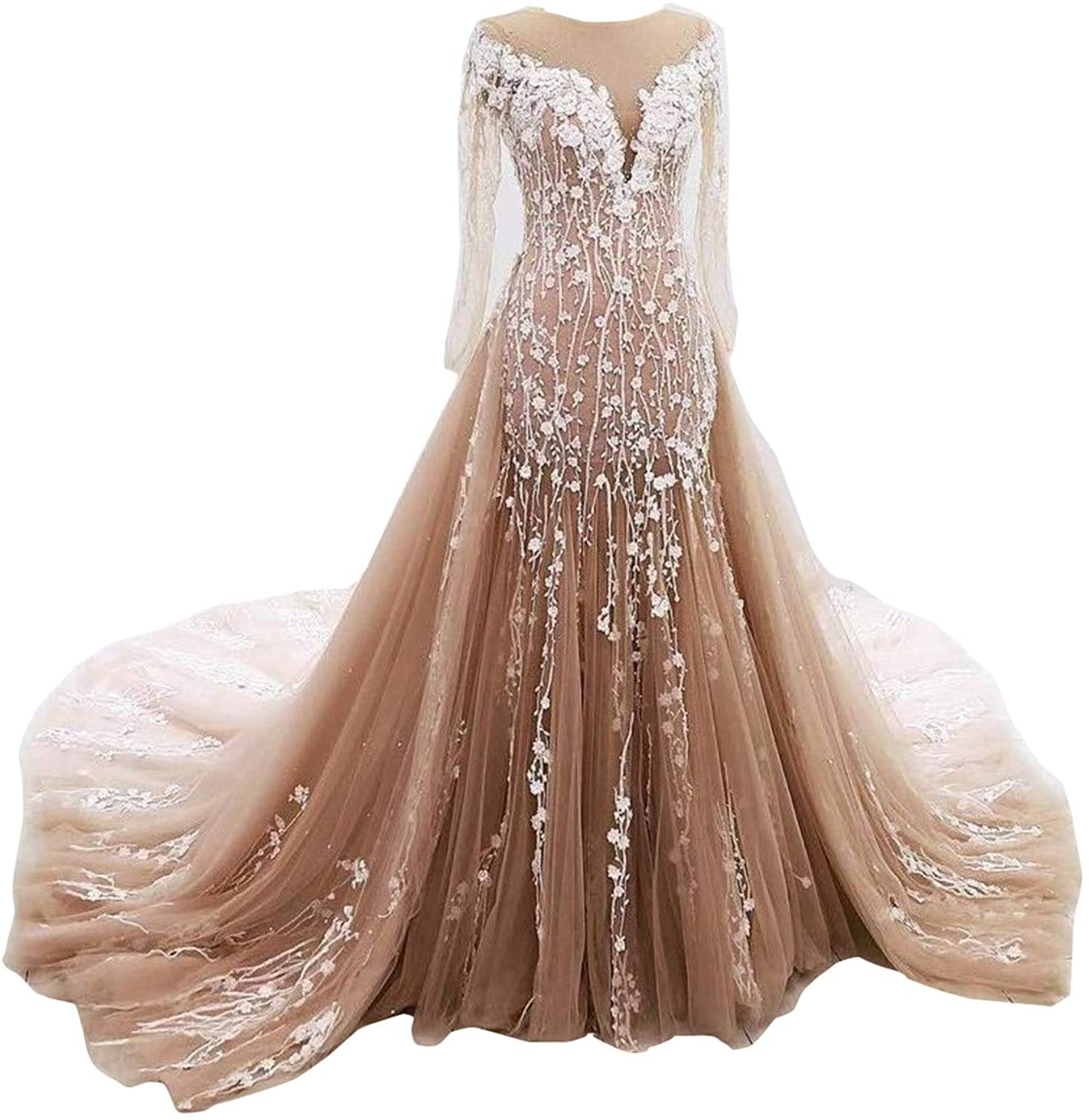 Aries Tuttle gold Mermaid Wedding Party Evening Dress Prom Gown Detachable Train
