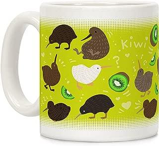 LookHUMAN Kiwi Bird Pattern White 11 Ounce Ceramic Coffee Mug