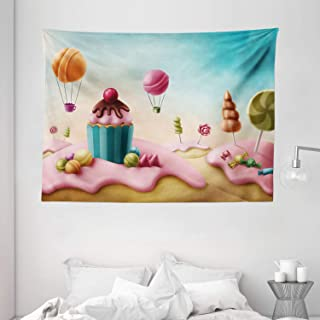 Girls Room Decor Tapestry, Fantasy Candyland with Cupcake Bonbon Lollipops Fairytale Delicious Sweets, Wall Hanging for Be...