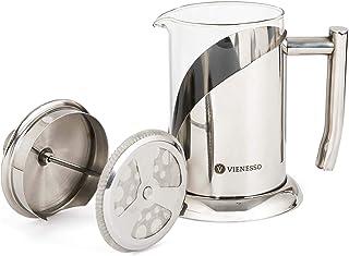 VIENESSO French Press kaffebryggare av glas och rostfritt stål (800 ml | 4 koppar) | Ädel kaffepress inkl. 2 ersättningsfi...