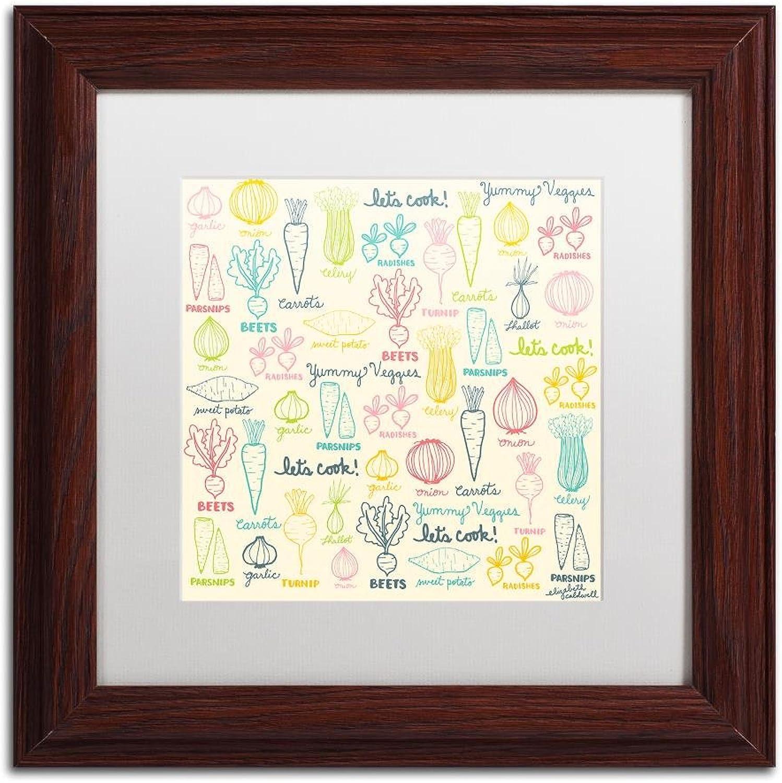Trademark Fine Art Yummy Veggies by Elizabeth Caldwell Wall Art, White Matte, Wood Frame 11x11