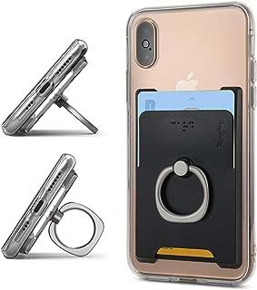 Ringke リングホルダースタンド スマホカードホルダー SUICA PASMO カード入れ 財布ケース 定期入れ パースケース スマホ カードケース カードスロット付き リング付き 360度回転リングホルダー 背面カードホルダー 名刺入れ スマホケース カード収納 Ring Slot Card Holder (Black) iPhone XS / XS Max / XR / X / iPhone 8 Plus, Samsung Galaxy S9, Note 9, Pixel 3xl, Pixel 3, Xperia XZ3, LG, Phone Accessory 全機種対応