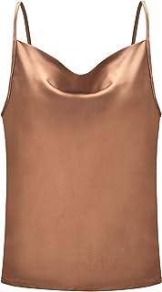 BASIC MODEL Women's Cowl Neck Silk Spaghetti Strap Tank Top Sexy Adjustable Camisole Crop Top