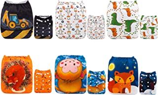 ALVABABY Baby Cloth Diapers One Size Adjustable Washable Reusable for Baby Girls and Boys 6 Pack with 12 Inserts 6DM59