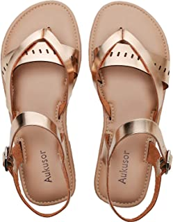 Women's Wide Summer Flat Sandals - Open Toe One Band Ankle Strap Flexible Summer Shoes.