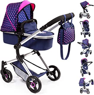 Bayer Design 18454AA Stroller, Doll Combi Pram Neo Vario with Changing Bag and Underneath Shopping Basket, Foldable, Swivel Front Wheels, Blue Pink with Hearts Unicorn