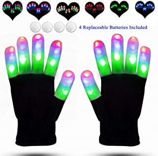 LED Gloves Finger Lights Glowing Rave LED Gloves Light Up Finger Lights Rave Gloves 3 Colors 6 Modes Flashing Gloves for Halloween Costume Christmas Party Birthday Light Up Toys for Kids