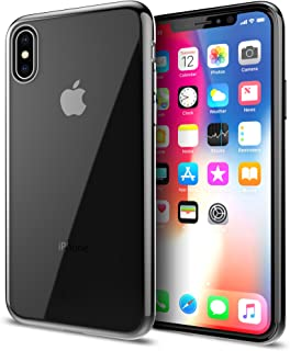 iLuv iPhone X/Xs Soft Flexible Clear Lightweight Case with Metallic Frame, TPU Material, Form-Fitting Construction, Ultra-Thin Design, Button Covers, and Access to All Ports and Controls (Black)